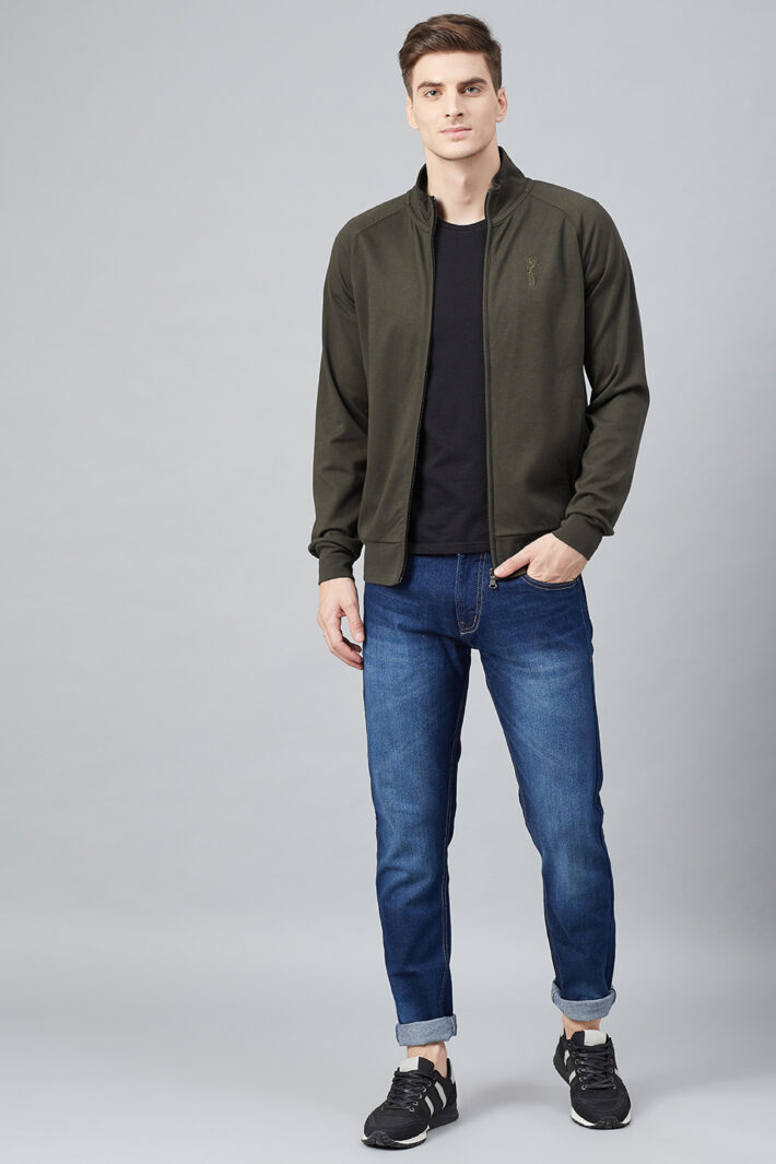 Fahrenheit Full Zip Lightweight Solid Sweatshirt Olive Green