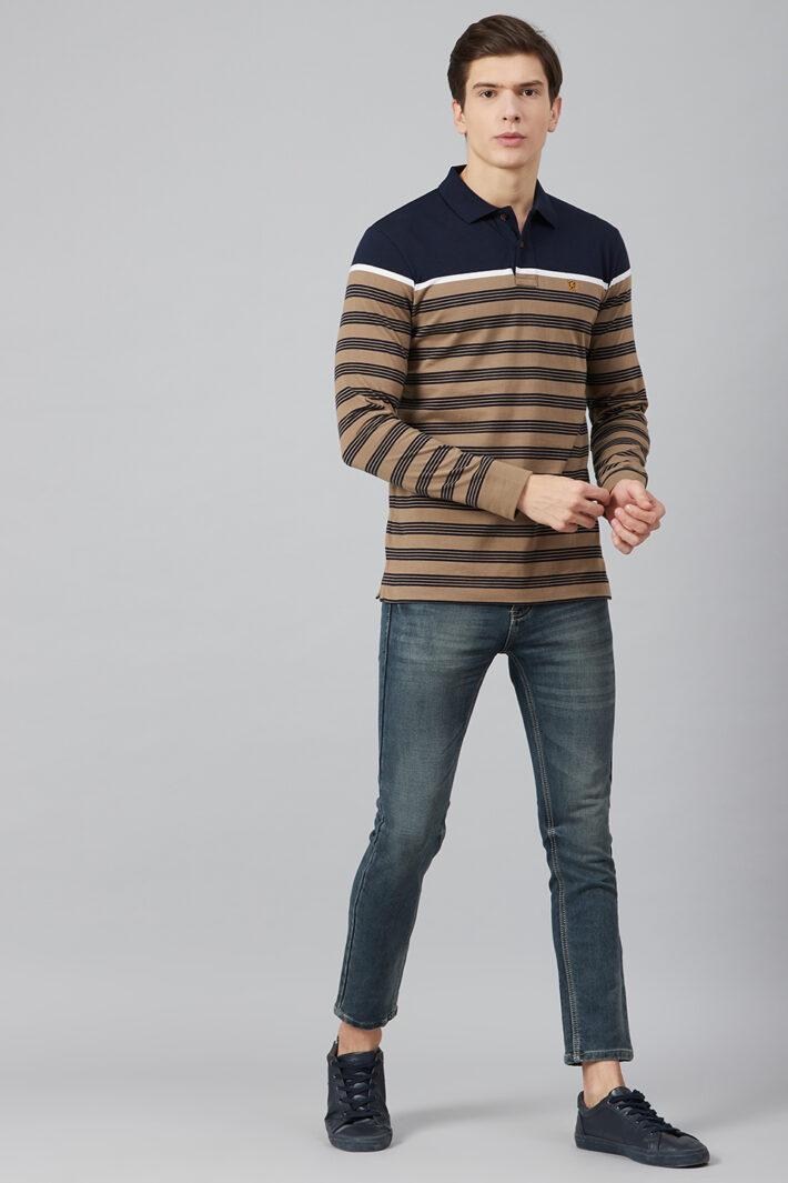 Fahrenheit Engineered Stripe Polo
