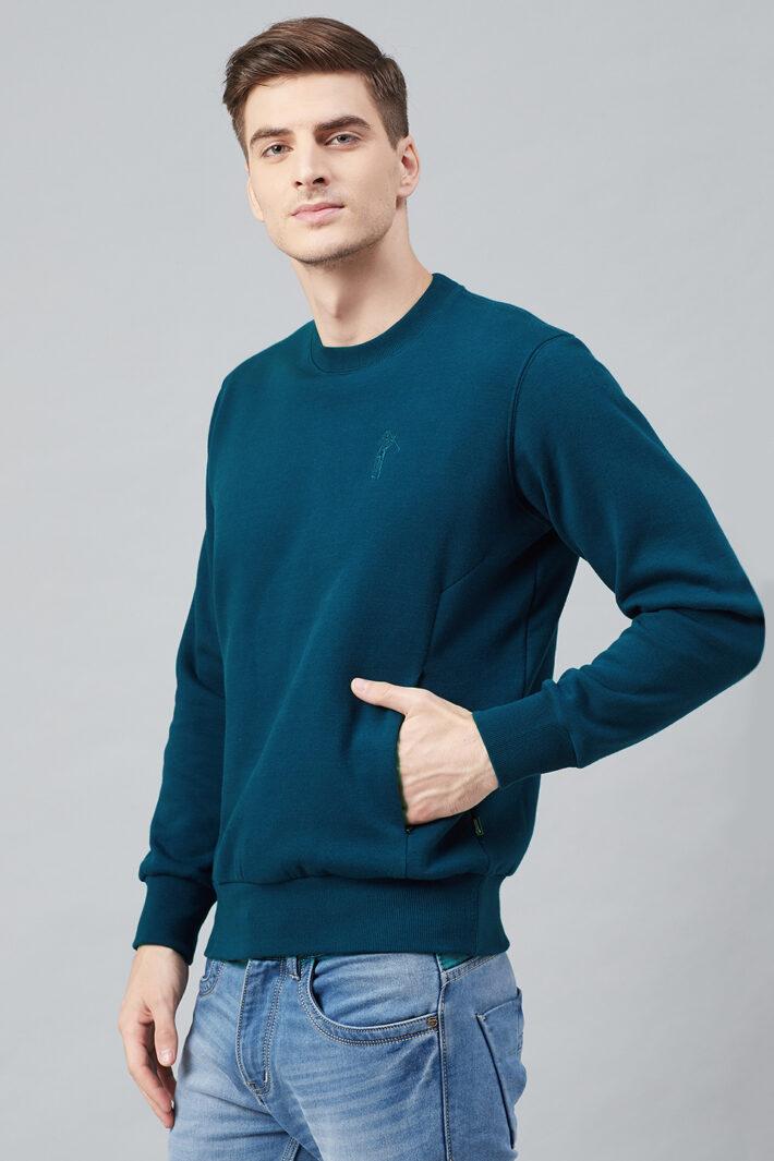 Fahrenheit Round Neck Fleece Sweatshirt Blue