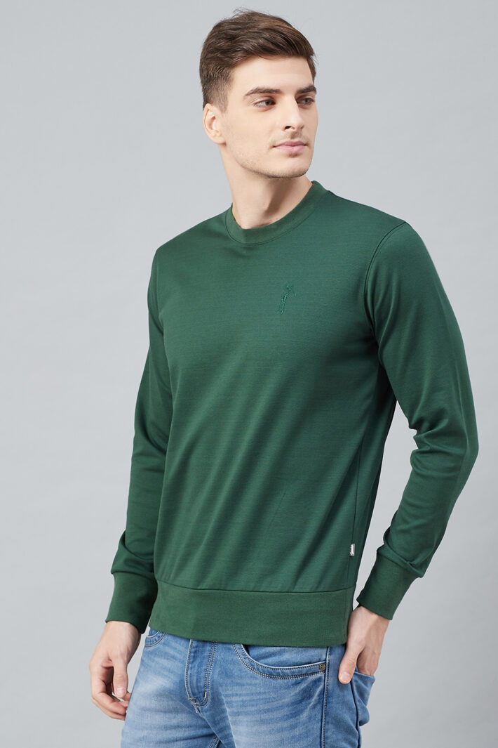 Fahrenheit Solid Round Neck Sweatshirt Green