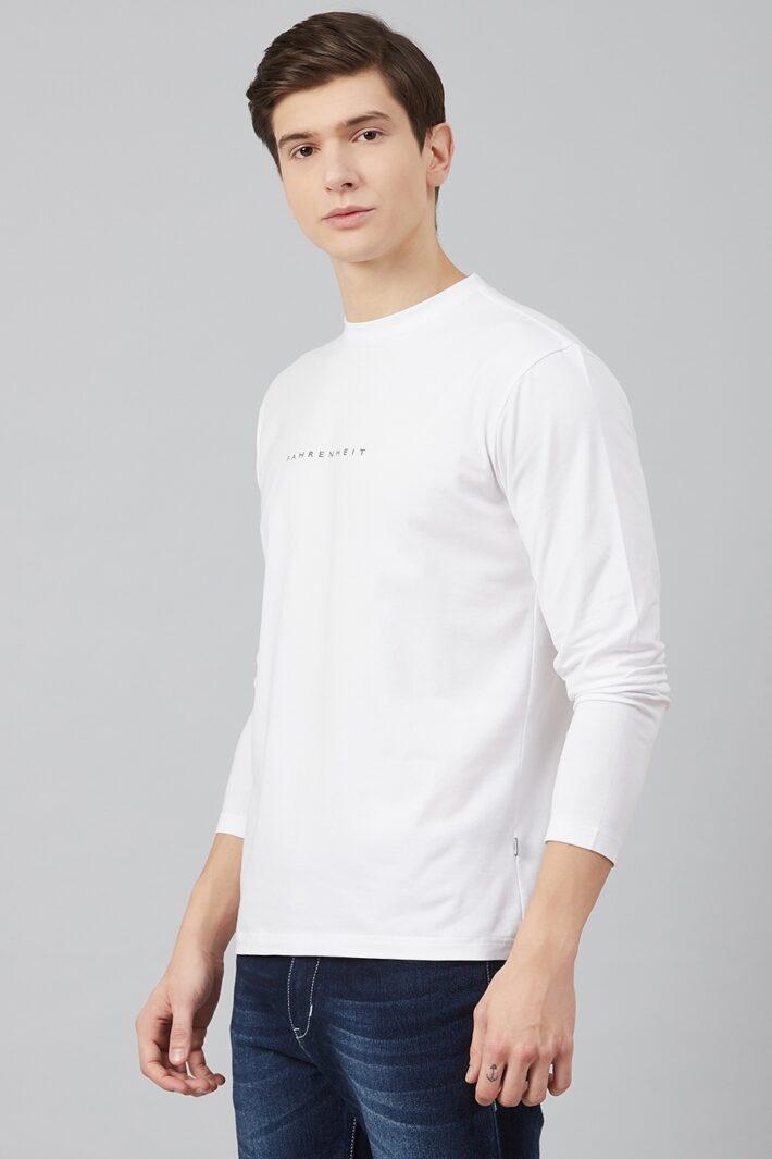 Fahrenheit Lycra Jersey Round Neck White