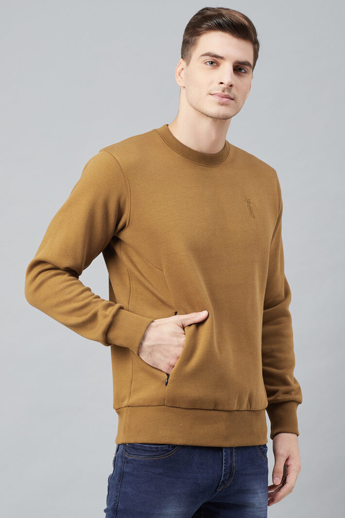 Fahrenheit Round Neck Fleece Sweatshirt Light Brown