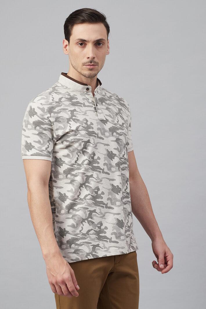 Fahrenheit Modern Camouflage Print Stand-Up Collar Polo Shirt