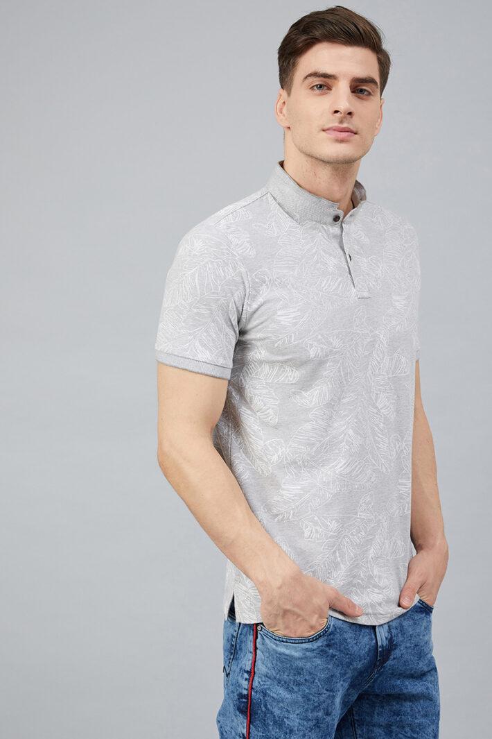 Fahrenheit Palm Leaf Print Stand-Up Collar Polo Shirt