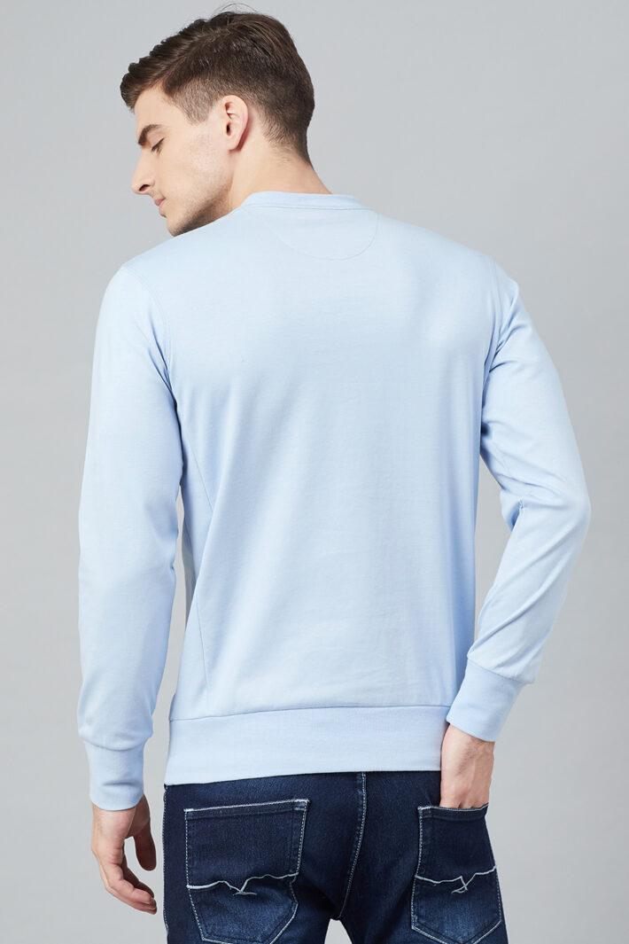 Fahrenheit Solid Round Neck Sweatshirt Sky Blue