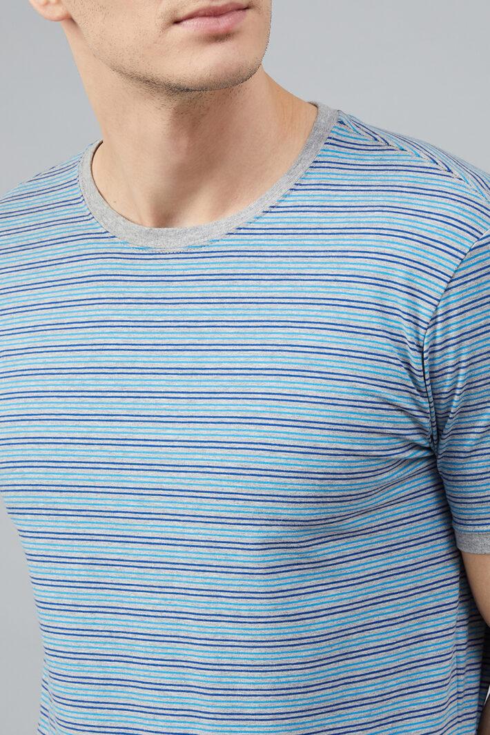 Fahrenheit Round Neck With Allover Feeder Stripes