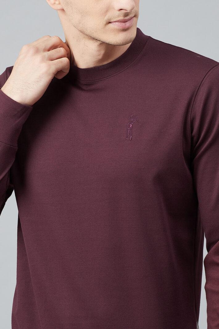 Fahrenheit Solid Round Neck Sweatshirt Maroon