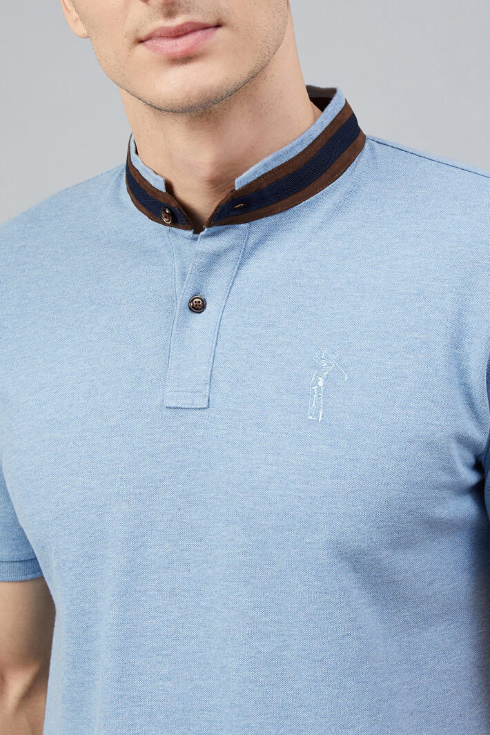 Fahrenheit Solid Stand-Up Collar Polo Shirt Blue