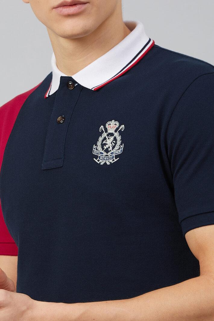 Fahrenheit Vertical Stripe Colourblock Polo Shirt