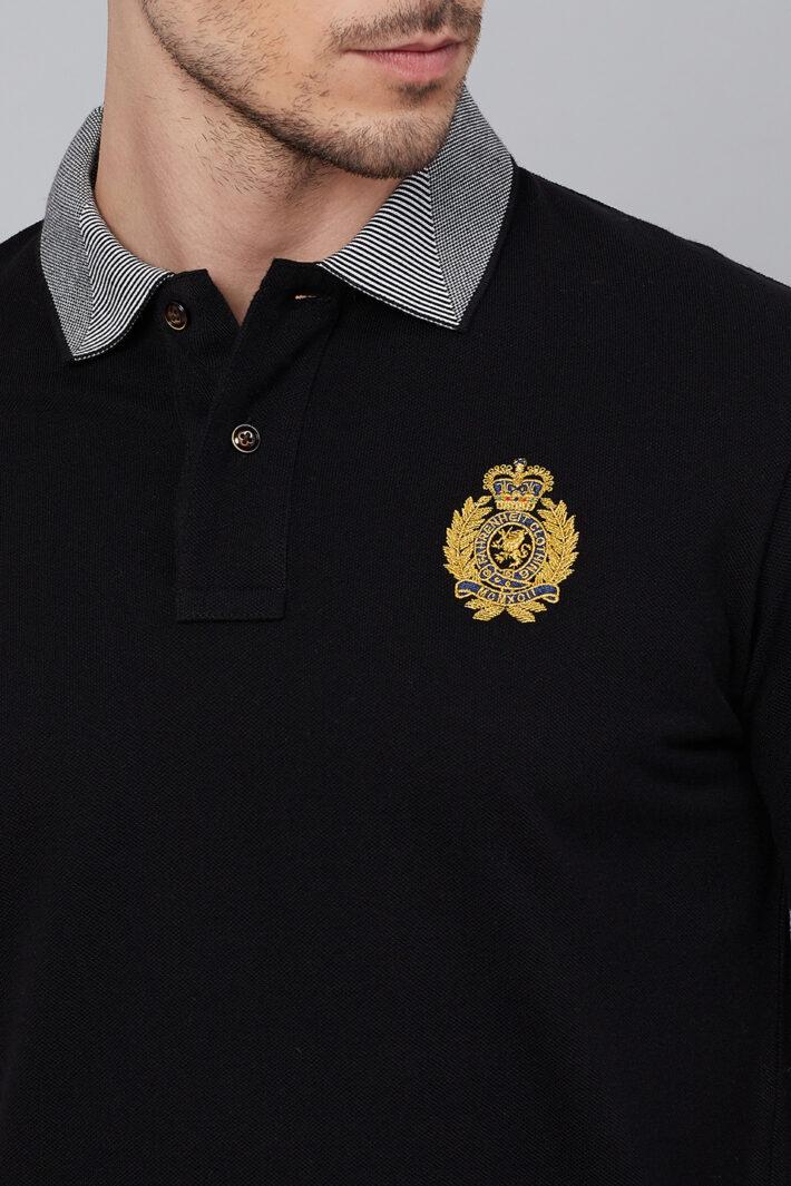 Fahrenheit Solid Polo With Jacquard Collar Black