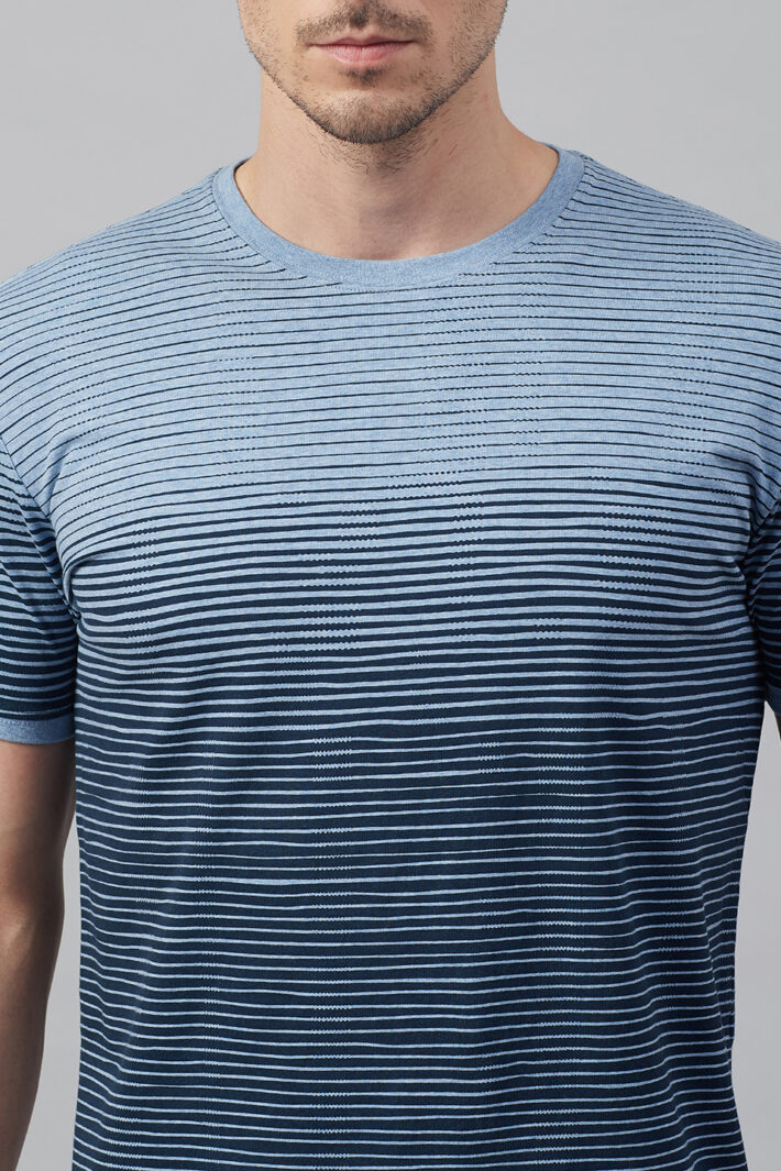 Fahrenheit Round Neck With Asymmetric Stripe Print