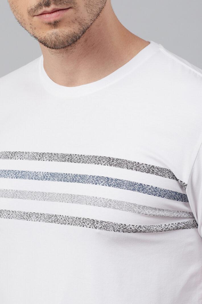 Fahrenheit Round Neck With Broken Stripe Effect