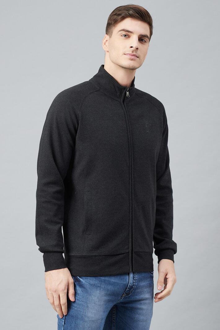Fahrenheit Full Zip Lightweight Solid Sweatshirt Black