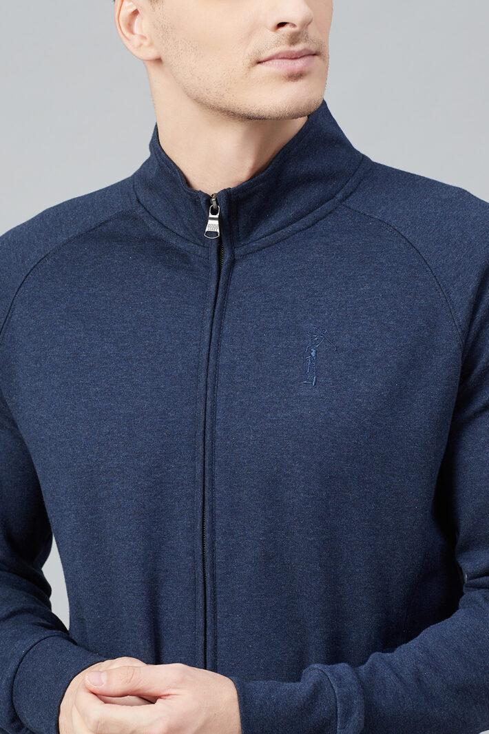 Fahrenheit Full Zip Lightweight Solid Sweatshirt Blue