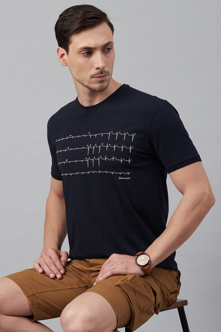 Fahrenheit Round Neck With Heart Rhythm Print Black